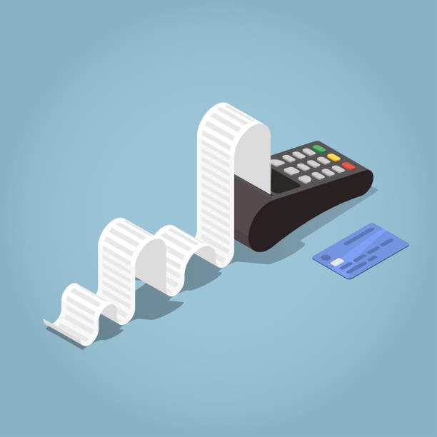 illustrazioni stock, clip art, cartoni animati e icone di tendenza di outline payment terminal illustration - scontrino