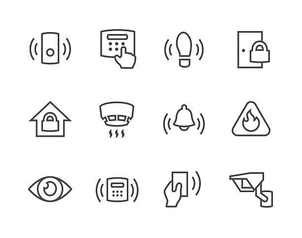 illustrazioni stock, clip art, cartoni animati e icone di tendenza di icone di contorno protezione del perimetro - sensore