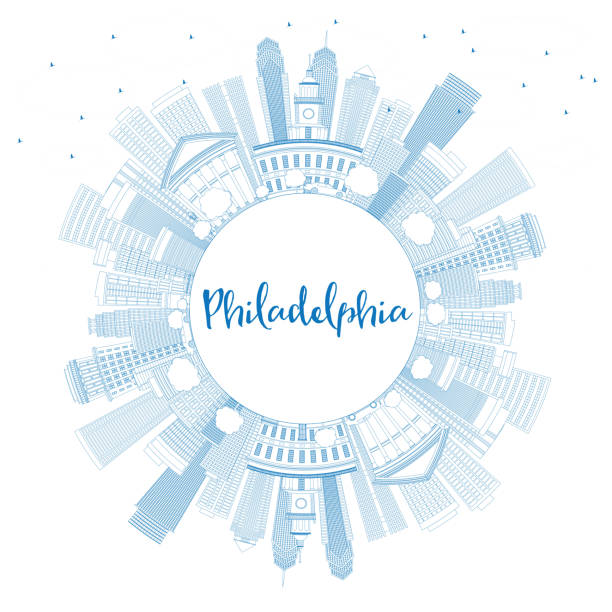 outline philadelphia skyline with blue buildings and copy space. - philadelphia skyline stock illustrations, clip art, cartoons, & icons