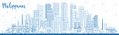 istock Outline Philippines City Skyline with Blue Buildings. 1295902851