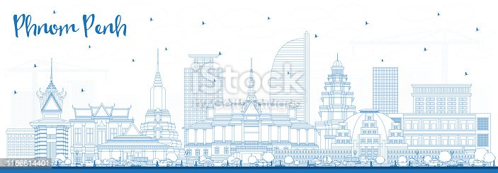 Outline Phnom Penh Cambodia City Skyline with Blue Buildings. Vector Illustration. Business Travel and Tourism Concept with Historic Architecture. Phnom Penh Cityscape with Landmarks.