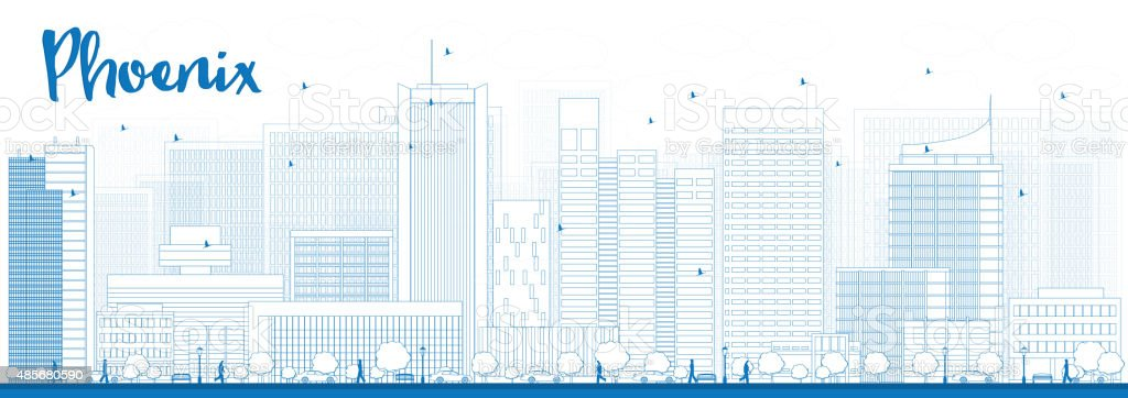 Outline Phoenix Skyline with Blue Buildings vector art illustration