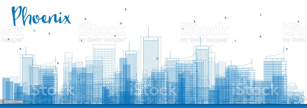 Outline Phoenix Skyline with Blue Buildings. vector art illustration