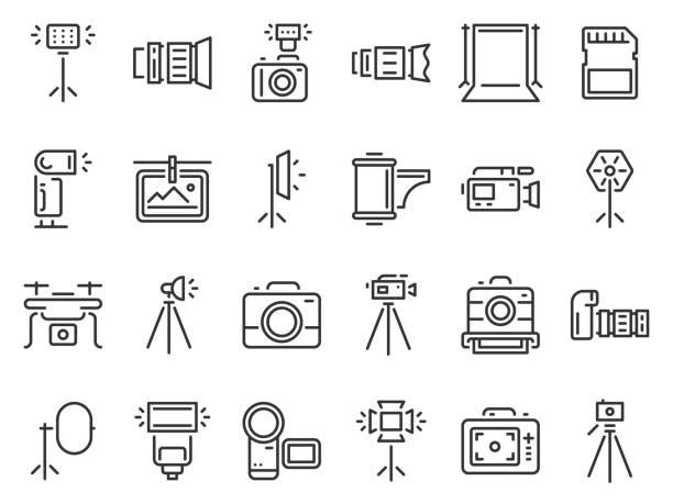 umriss foto-icons. fotografie studio licht, filmkameras und kamera auf stativ linie icon vektor-set - fotografische themen stock-grafiken, -clipart, -cartoons und -symbole