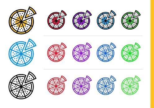 다른 색상에 피자 아이콘을 설명 합니다 웹사이트 모바일 응용 프로그램 및 프레 젠 테이 션에 대 한 적합 한 벡터 요소 0명에 대한 스톡 벡터 아트 및 기타 이미지