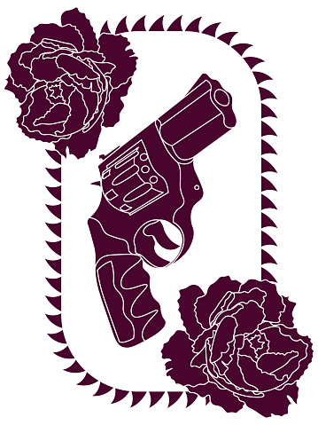 outline purple revolver and two peony buds in thorned frame