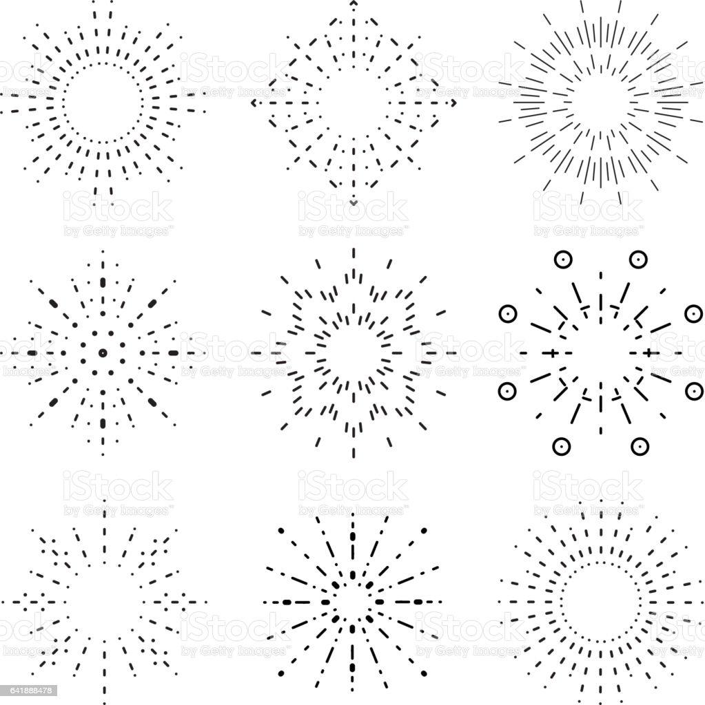 outline radiant sunburst icons set vector illustration