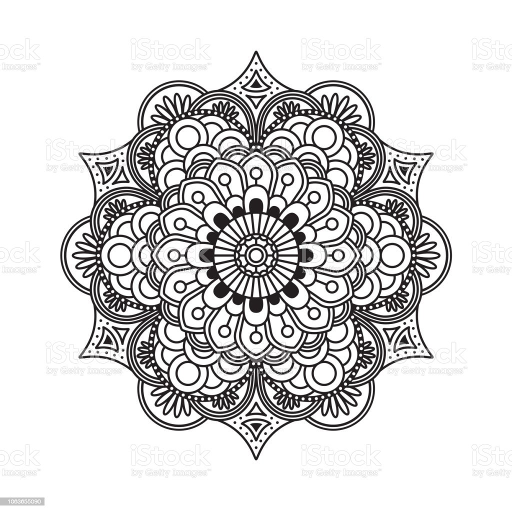 Outline rangoli icon isolated on white background illustration
