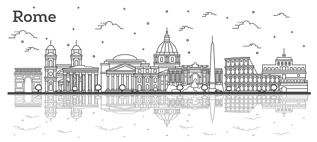 Outline Rome Italy City Skyline with Historic Buildings and Reflections Isolated on White.