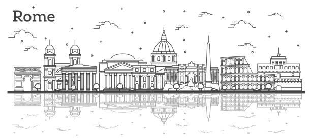 illustrations, cliparts, dessins animés et icônes de contour rome italie ville skyline avec des bâtiments historiques et des réflexions d'isolement sur le blanc. - rome