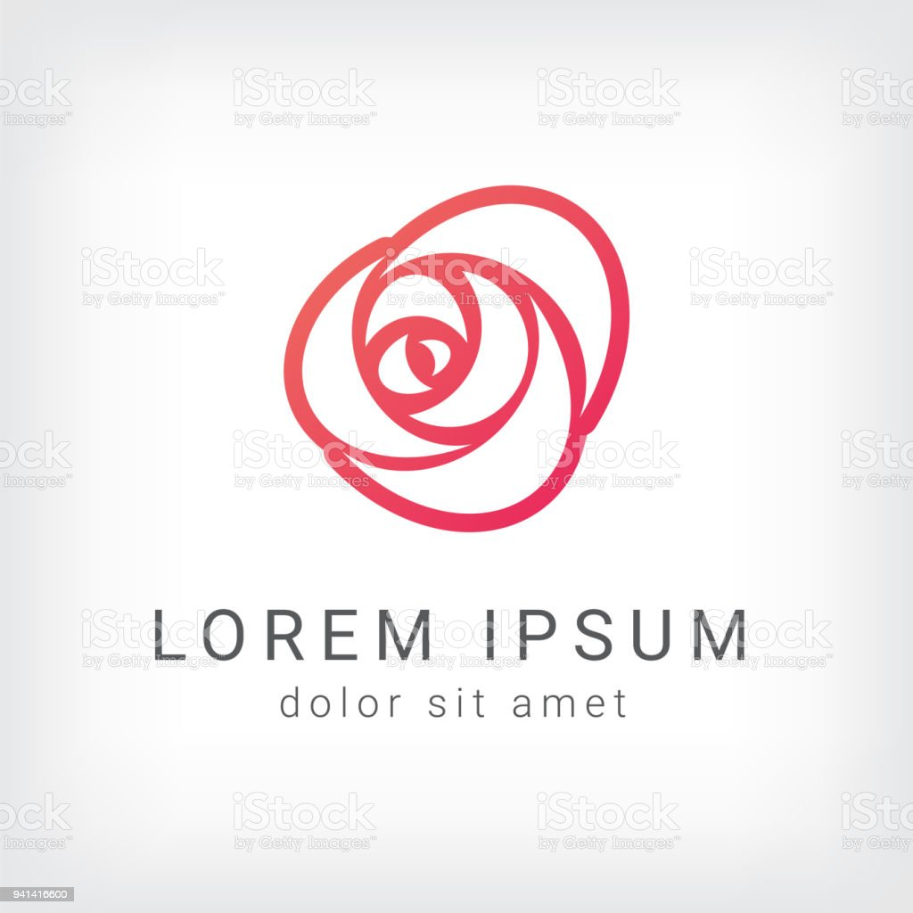 outline rose curve logo design template