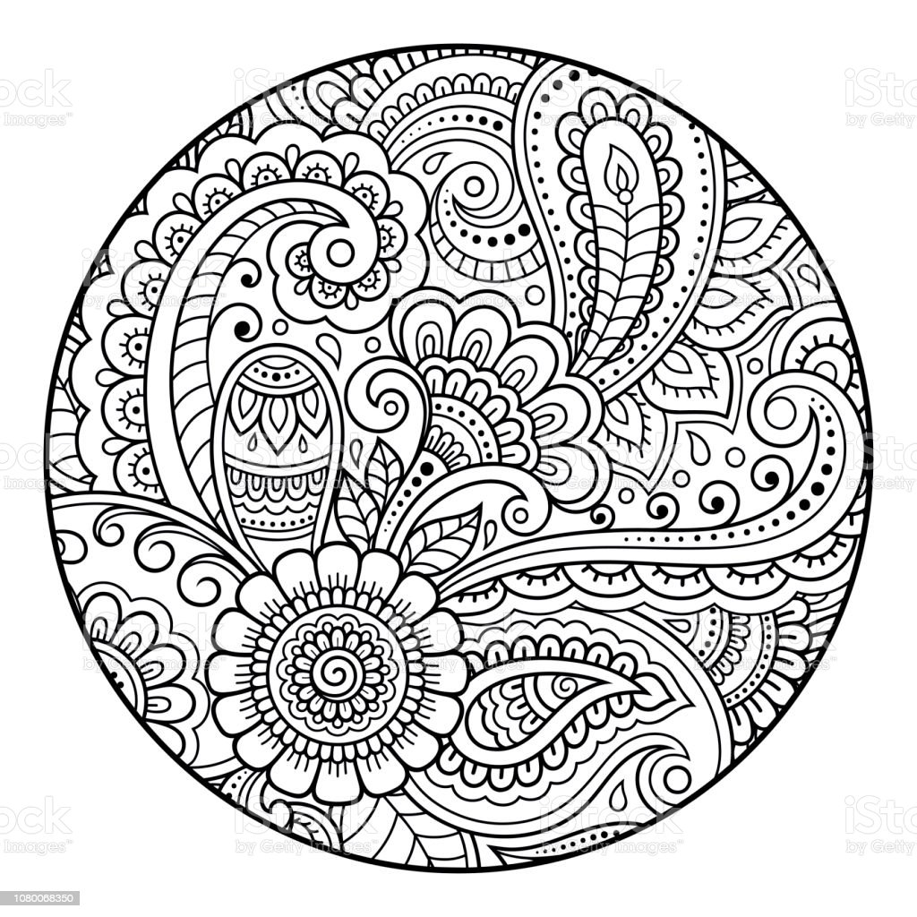 Outline Round Floral Pattern For Coloring The Book Page