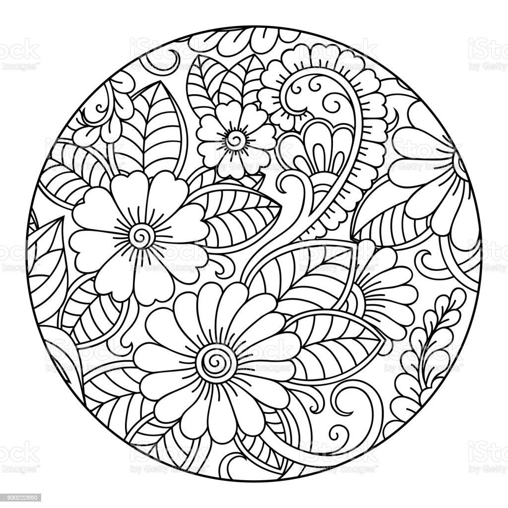 Ilustración de Contorno Redondo Patrón Floral De La Página De Libro ...