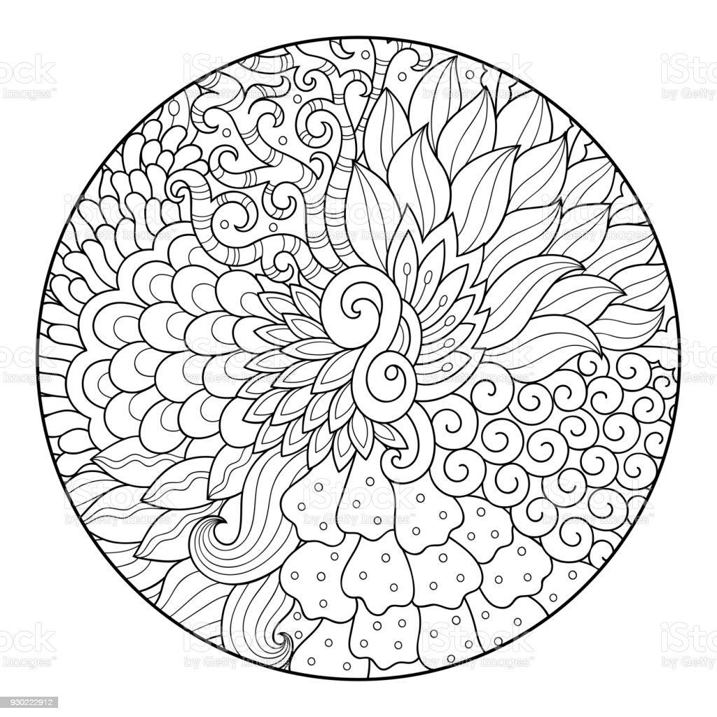 Contorno redondo padrão floral para colorir a página do livro. Antistress colorir para adultos e crianças. Doodle padrão em preto e branco. Ilustração em vetor mão desenhar. - ilustração de arte em vetor