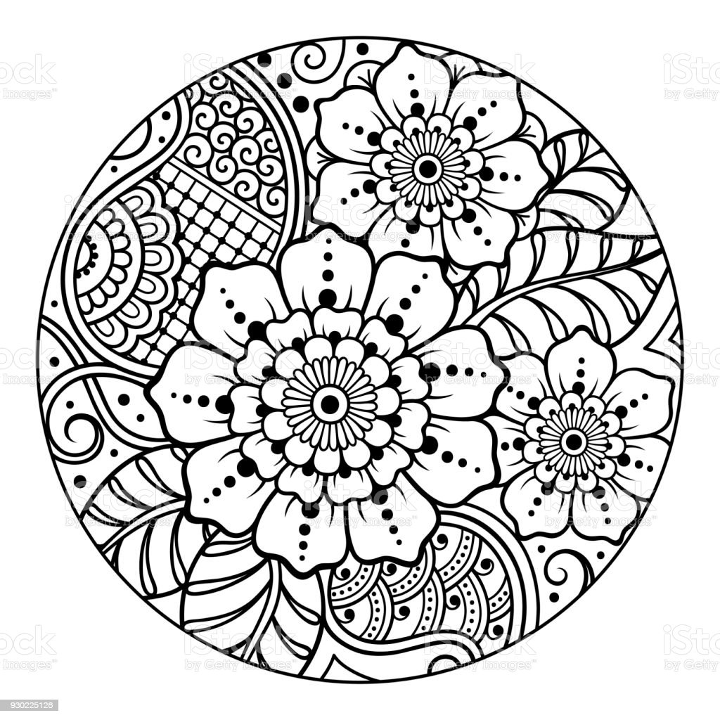 Kitap Sayfa Boyama Için Yuvarlak çiçek Desenli Anahat Yetişkinler Ve