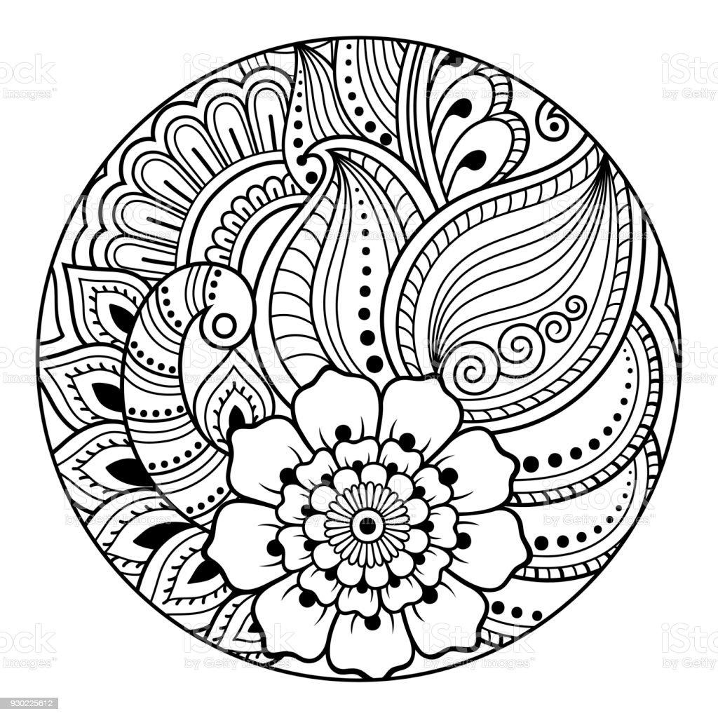 Vetores De Contorno Redondo Padrao Floral Para Colorir A Pagina Do