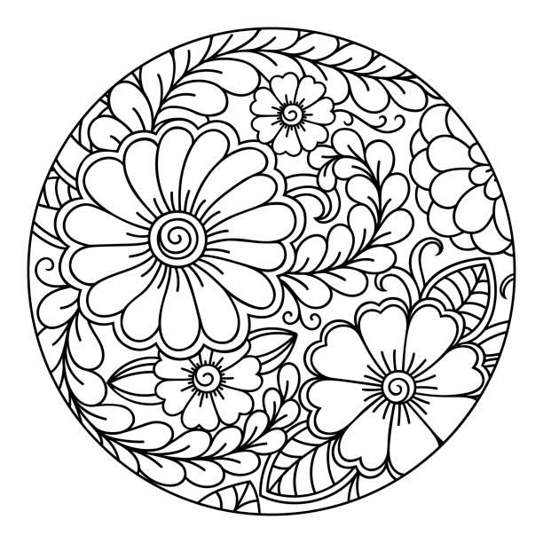 ilustrações, clipart, desenhos animados e ícones de contorno redondo padrão floral para colorir a página do livro. antistress colorir para adultos e crianças. doodle padrão em preto e branco. ilustração em vetor mão desenhar. - fontes de tatuagem