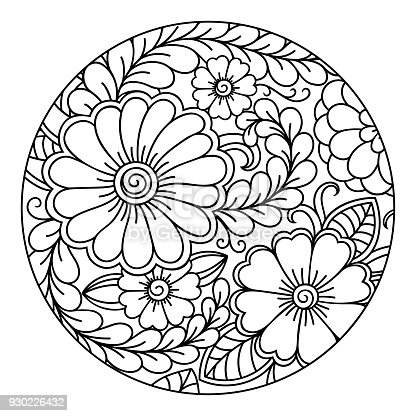Outline Round Floral Pattern For Coloring The Book Page ...