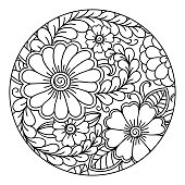 Outline Round Floral Pattern For Coloring The Book Page Antistress Adults And Children