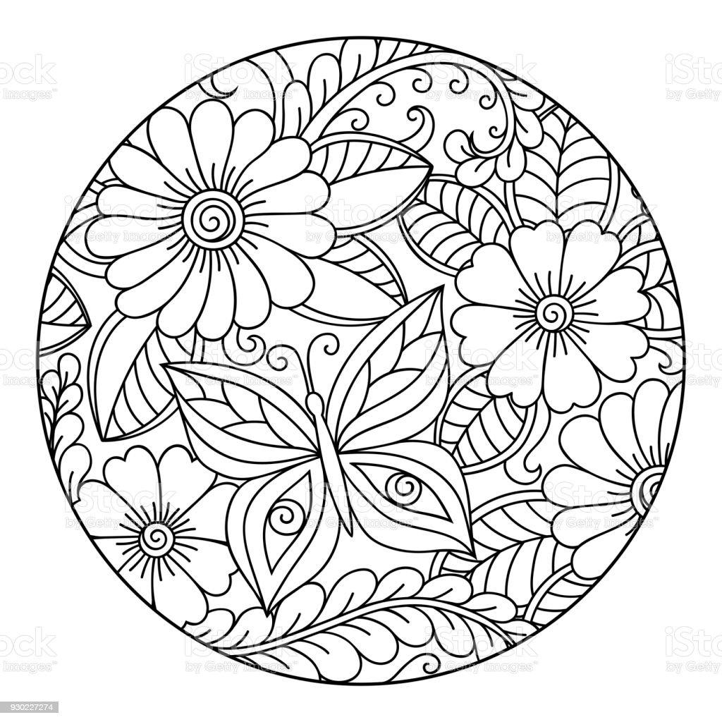 Contour Rond Motif Floral Pour La Page De Livre à Colorier Anti
