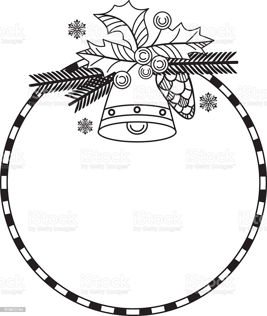 Outline round frame with Christmas bell