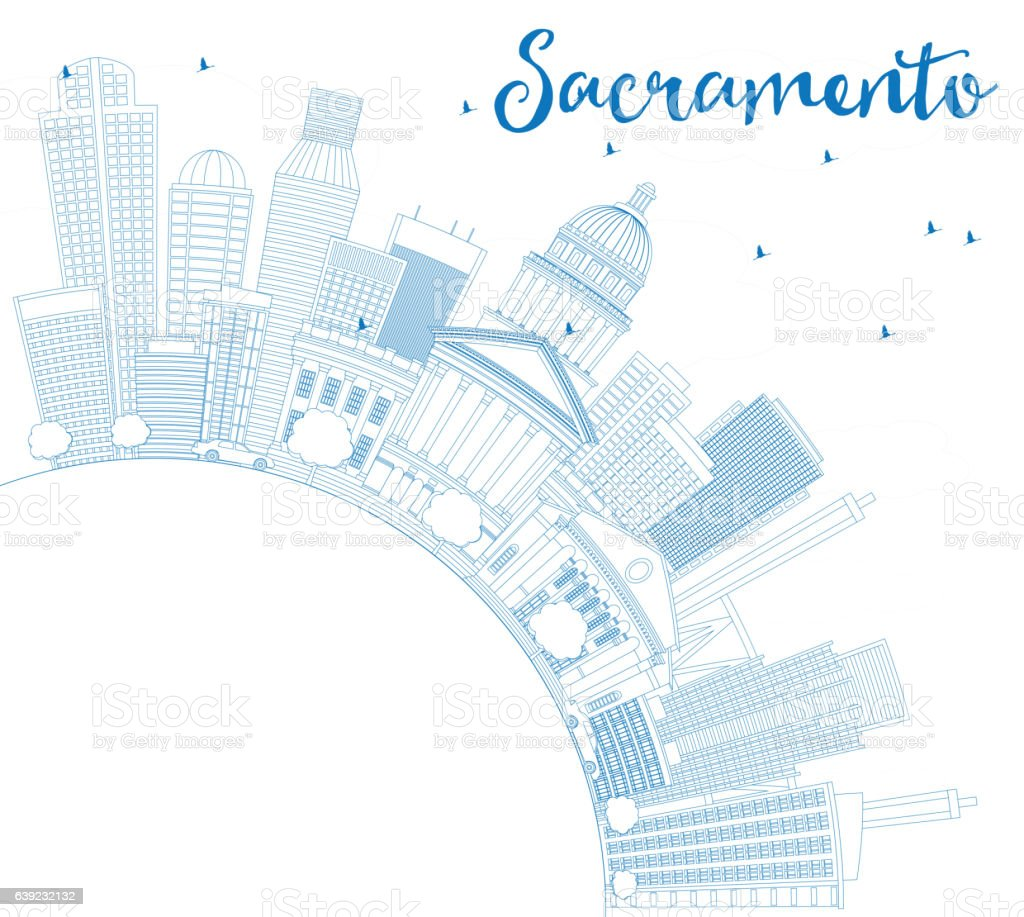 Outline Sacramento Skyline with Blue Buildings and Copy Space. vector art illustration