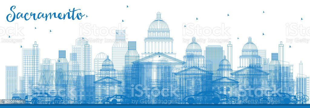 Outline Sacramento Skyline with Blue Buildings. vector art illustration