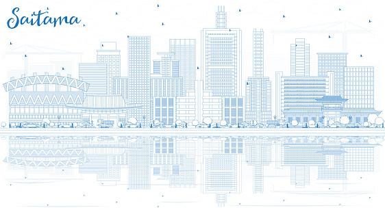 Umriss Saitama Japan Stadt Skyline Mit Blauen Gebäuden Und Reflexionen Stock Vektor Art und mehr Bilder von Architektur