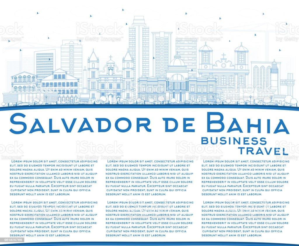 Skyline de Salvador de Bahia cidade de contorno com prédios azul e espaço de cópia. - ilustração de arte em vetor