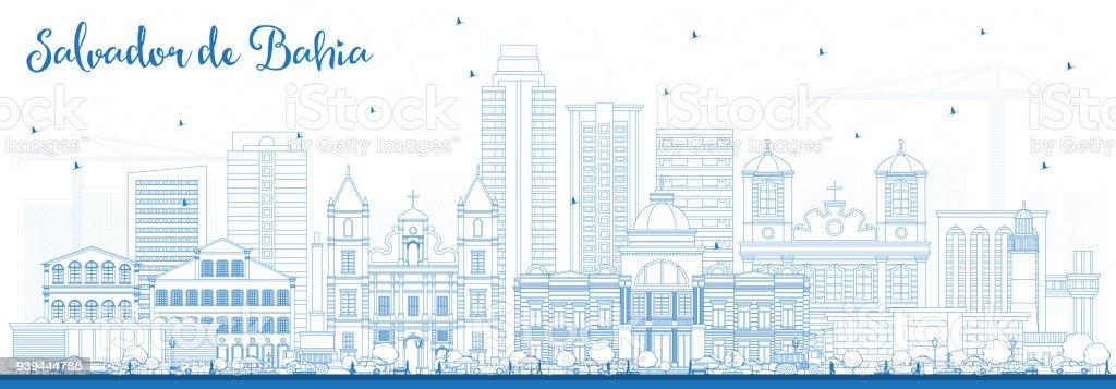Delinear o Skyline de Salvador de Bahia cidade com edifícios de azul. - ilustração de arte em vetor
