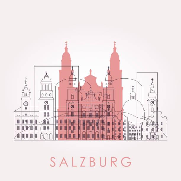 bildbanksillustrationer, clip art samt tecknat material och ikoner med skissera salzburg skyline med landmärken. vektor illustration. affärsresande och turism koncept med historiska byggnader. bild för presentation, banner, plakett och webbplats. - salzburg