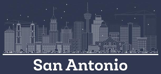 Outline San Antonio Texas City Skyline with White Buildings.