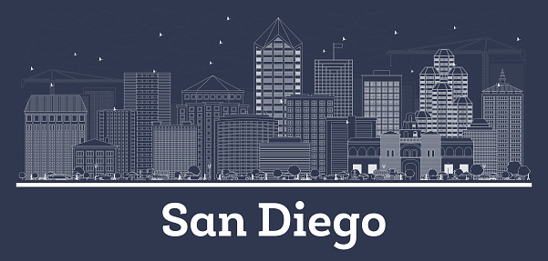 Outline San Diego California City Skyline with White Buildings.
