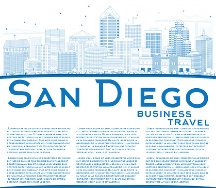 Outline San Diego Skyline with Blue Buildings and Copy Space.