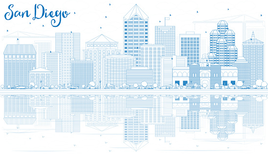 Outline San Diego Skyline with Blue Buildings and Reflections.