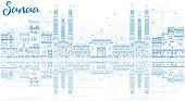 Outline Sanaa (Yemen) Skyline with Blue Buildings and Reflection