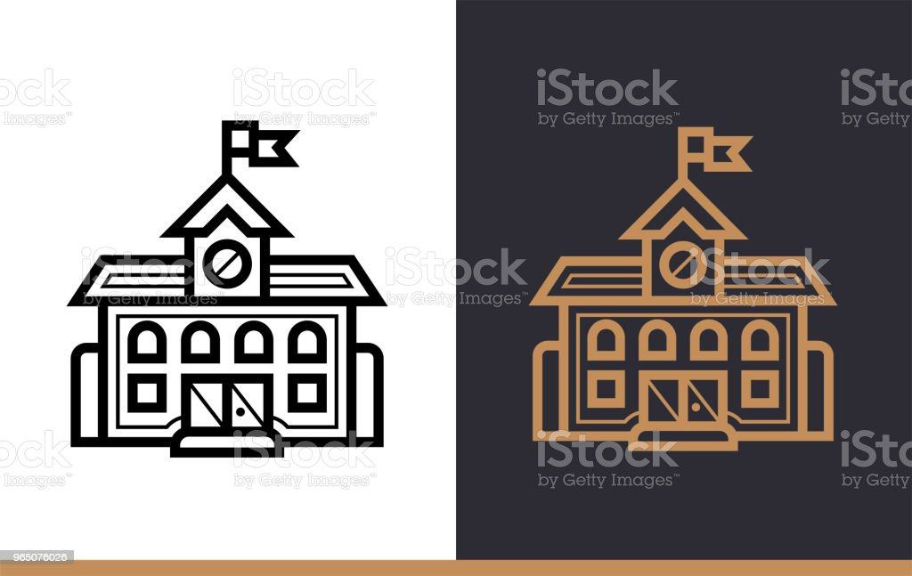 Outline SCHOOL icon for education. Line icons suitable for info graphics, print media and interfaces royalty-free outline school icon for education line icons suitable for info graphics print media and interfaces stock vector art & more images of design