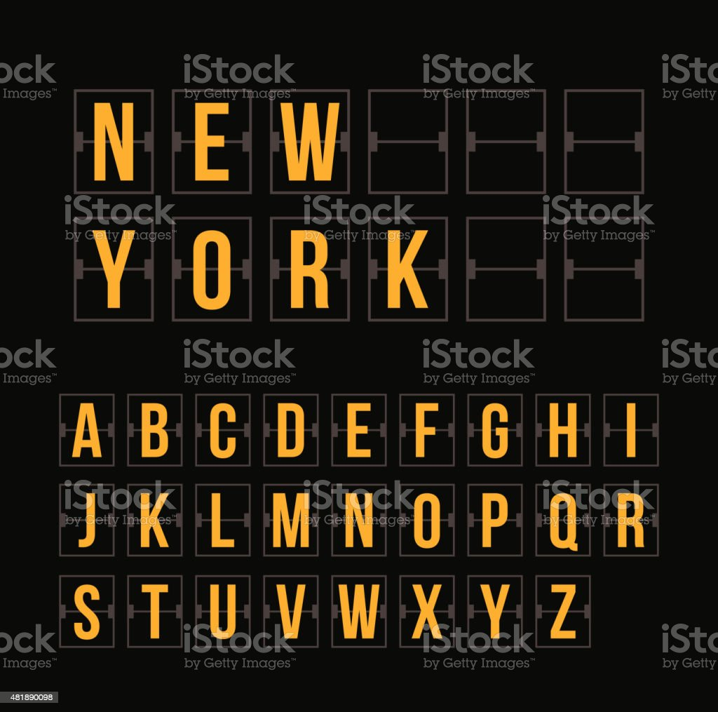 Outline Scoreboard Letters And Symbols Flat Alphabet Panel Stock
