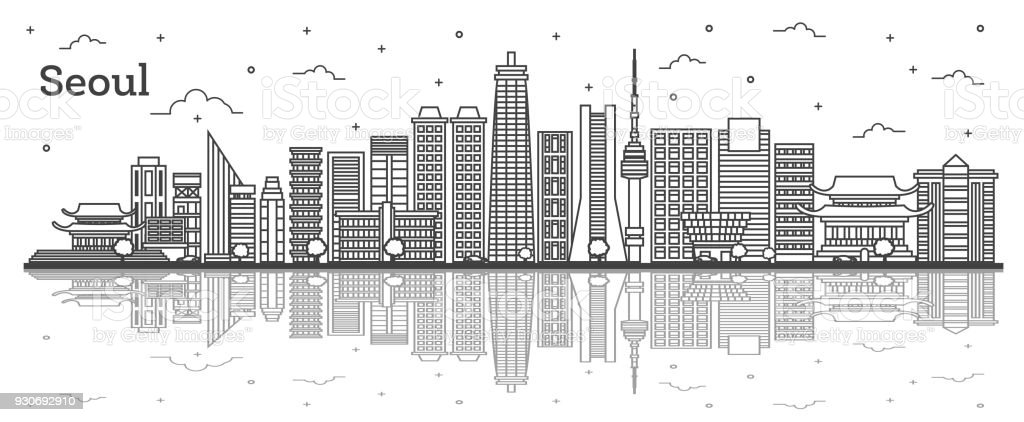 Outline Seoul South Korea City Skyline with Modern Buildings and Reflections Isolated on White. vector art illustration