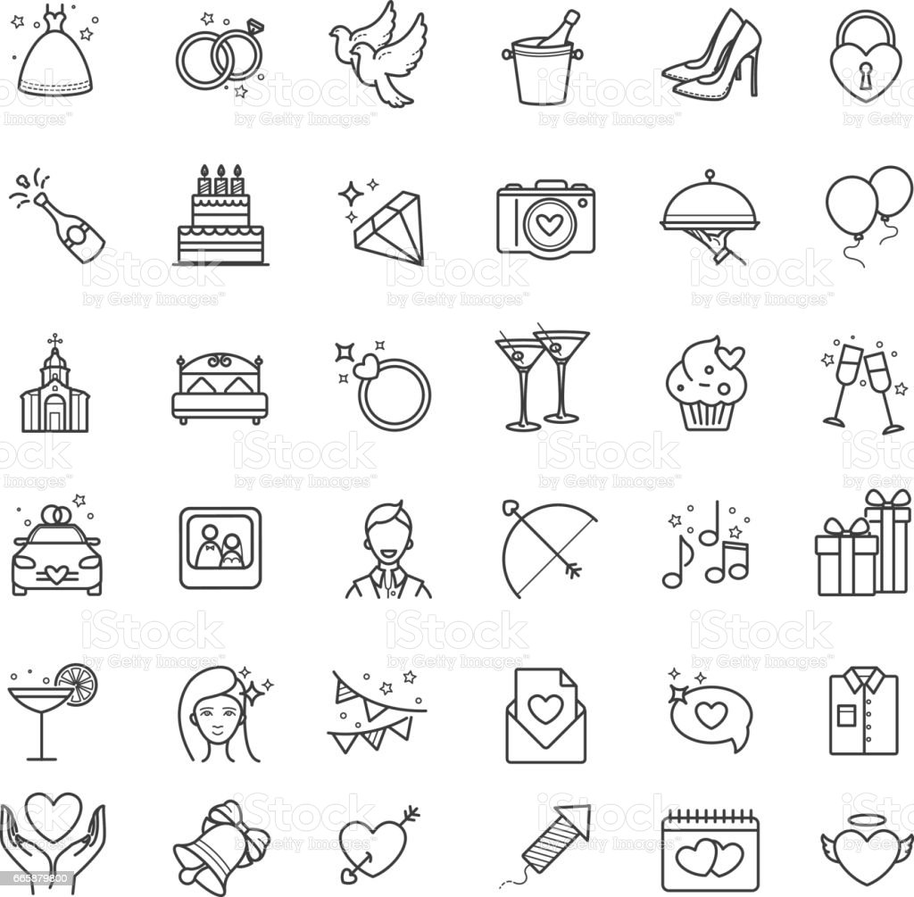 Outline set- wedding, love vector icons vector art illustration