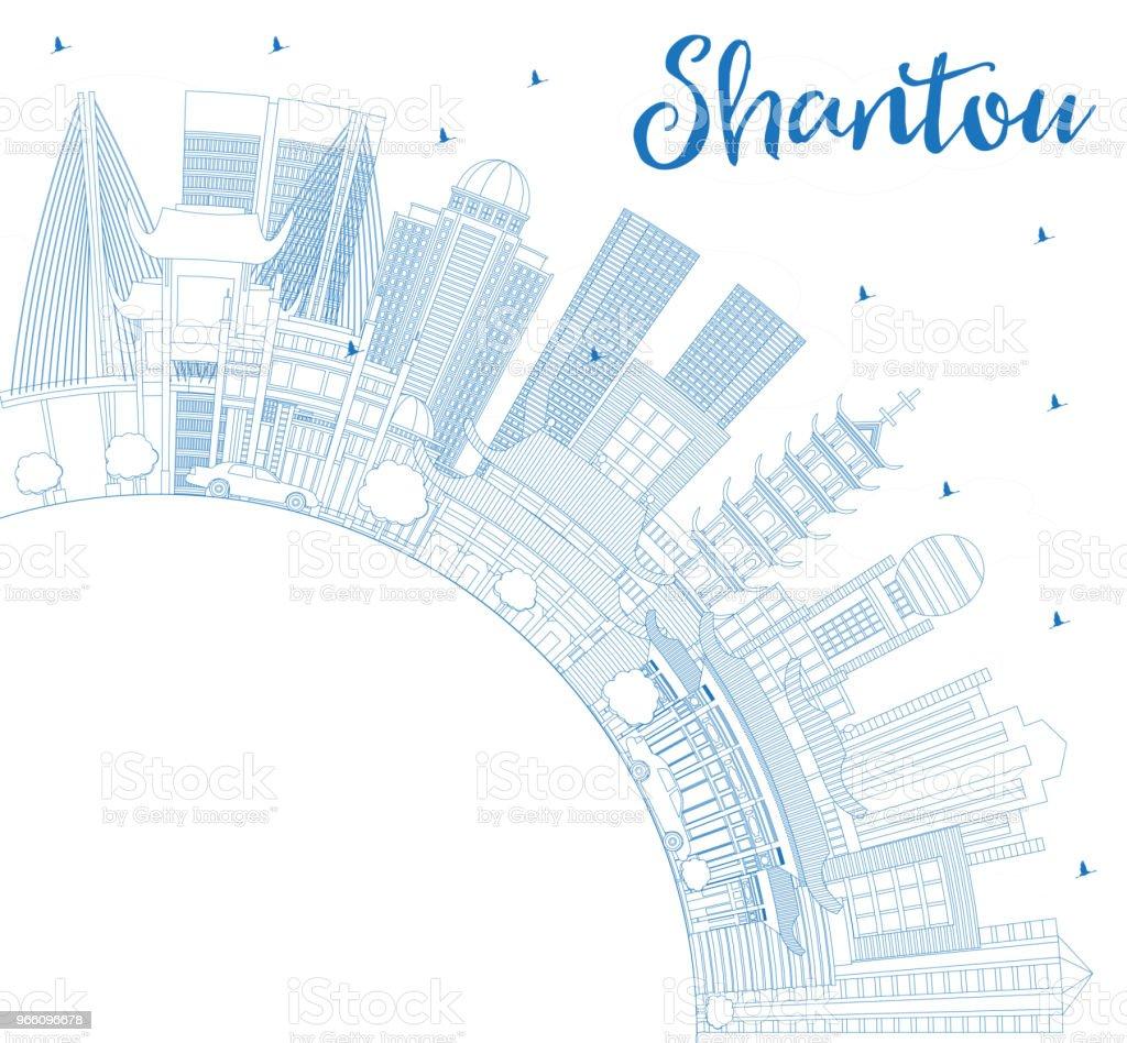 Umriss Shantou China City Skyline mit blauen Gebäuden und Textfreiraum. - Lizenzfrei Architektur Vektorgrafik
