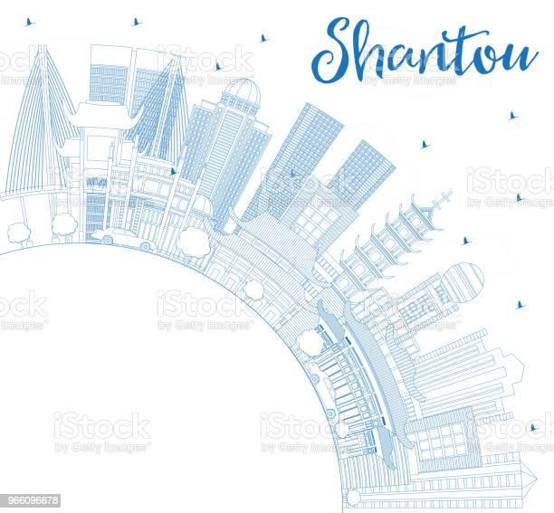 Umriss Shantou China City Skyline Mit Blauen Gebäuden Und Textfreiraum Stock Vektor Art und mehr Bilder von Architektur
