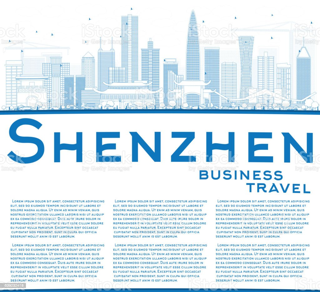 Outline Shenzhen Skyline with Blue Buildings and Copy Space. vector art illustration