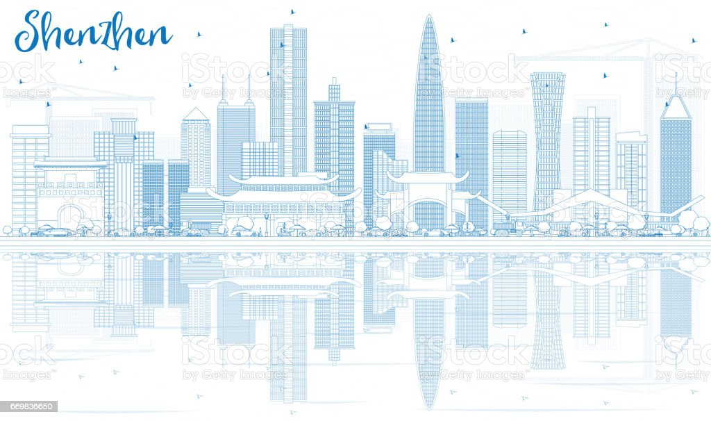 Outline Shenzhen Skyline with Blue Buildings and Reflections. vector art illustration