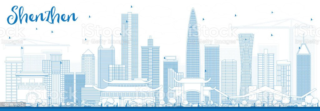 Outline Shenzhen Skyline with Blue Buildings. vector art illustration