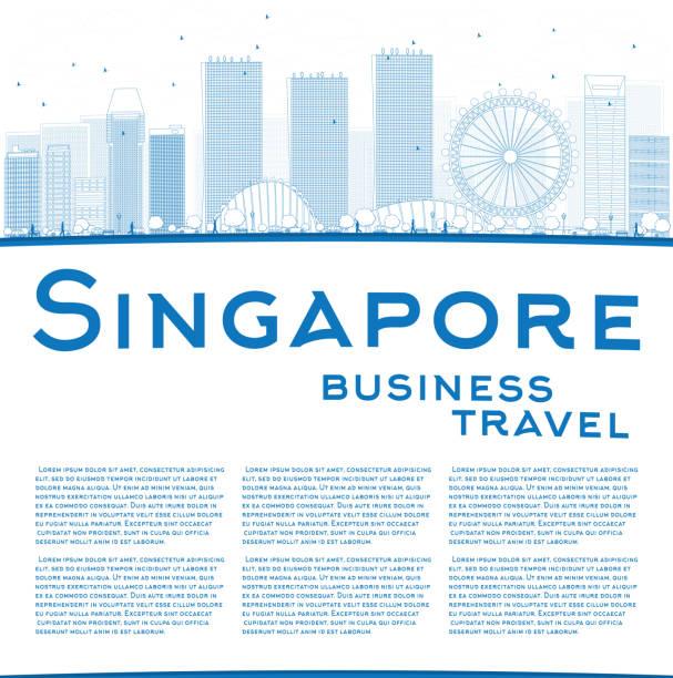 stockillustraties, clipart, cartoons en iconen met outline singapore skyline with blue landmarks and copy space. - singapore