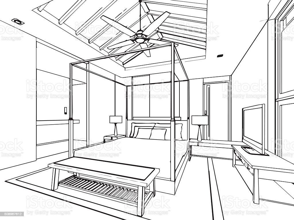 Kontur Skizze Zeichnung Von Haus Innen Perspektive Lizenzfreies Stock
