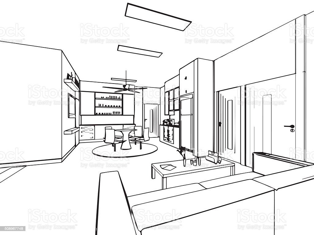 Outline Sketch Drawing Interior Perspective Of House Stock Illustration - Download Image Now
