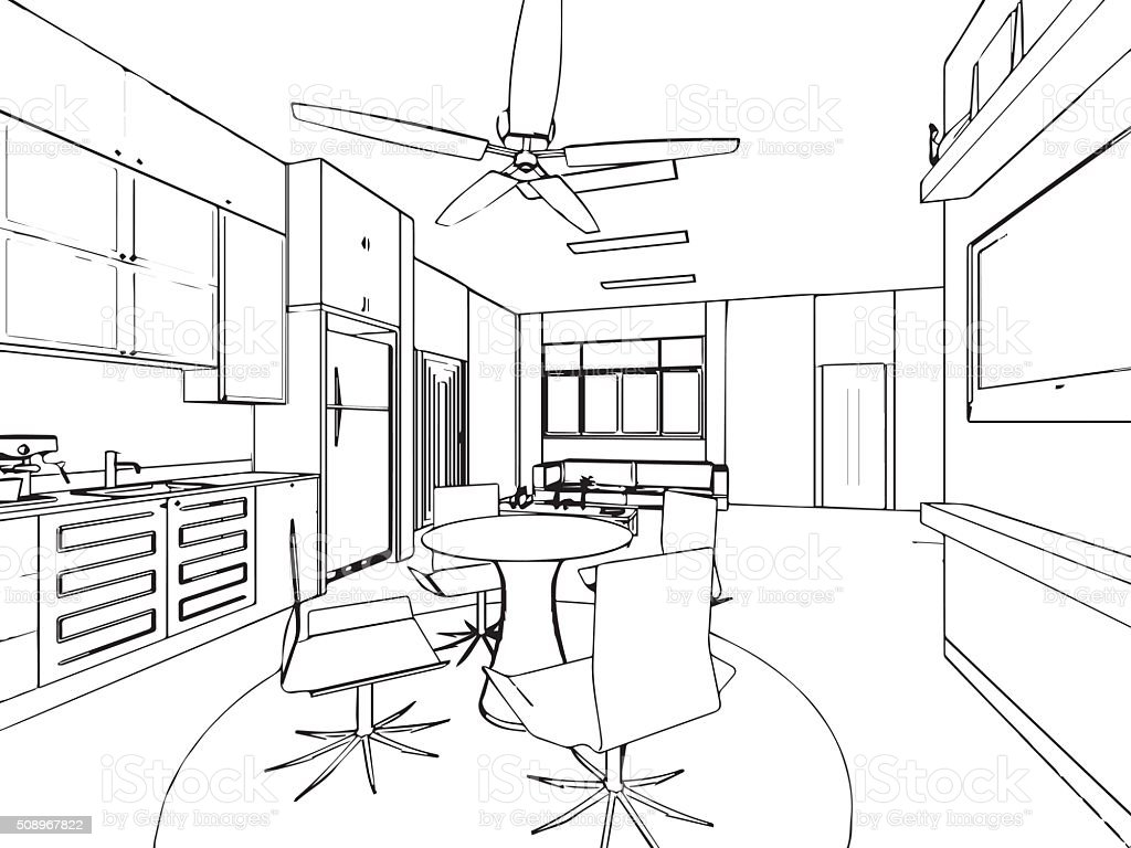 Outline Sketch Drawing Interior Perspective Of House Royalty Free Outline  Sketch Drawing Interior Perspective Of