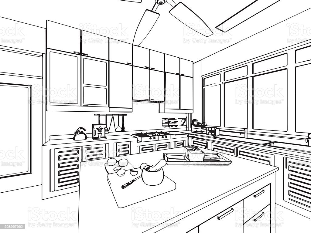 outline sketch drawing interior perspective of house stock vector art more images of. Black Bedroom Furniture Sets. Home Design Ideas